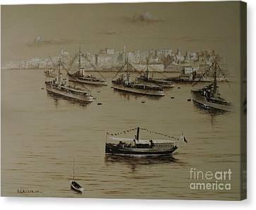 British Warships In Malta Harbour 1941 Canvas Print