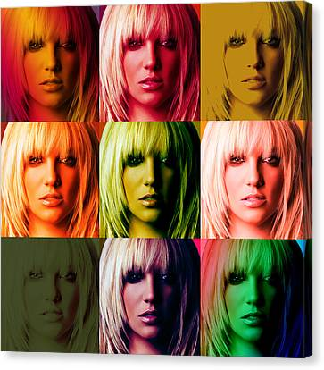 Britney Spears Bold Warhol By Gbs Canvas Print by Anibal Diaz