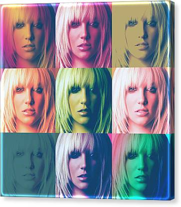 Britney Spears Pastel Warhol By Gbs Canvas Print by Anibal Diaz