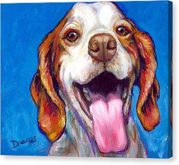 Brittany Spaniel Smiling Canvas Print by Dottie Dracos