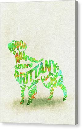Brittany Spaniel Watercolor Painting / Typographic Art Canvas Print