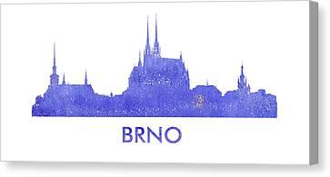 Brno City Purple Skyline. Canvas Print by Vyacheslav Isaev