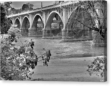Gervais Street Bridge Black And White Canvas Print by Lisa Wooten