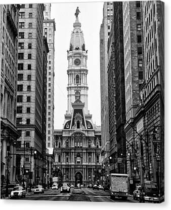 Broad Street At City Hall Canvas Print by Bill Cannon