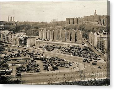 Canvas Print featuring the photograph Broadway And Nagle Ave 1936 by Cole Thompson