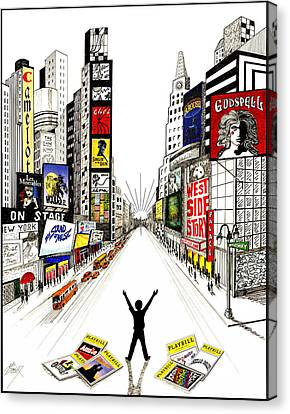 Canvas Print featuring the drawing Broadway Dreamin' by Marilyn Smith