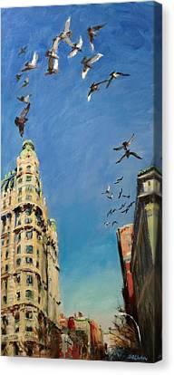 Broadway Pigeons No. 1 Canvas Print by Peter Salwen