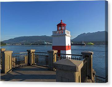 Brockton Point Lighthouse In Vancouver Bc Canvas Print by David Gn