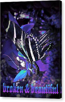 Canvas Print featuring the photograph Broken And Beautiful Butterfly by David Mckinney