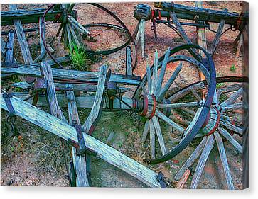 Wooden Wagons Canvas Print - Broken Down Wagon by Garry Gay