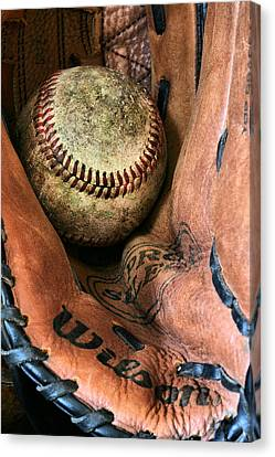 Baseball Glove Canvas Print - Broken In by JC Findley
