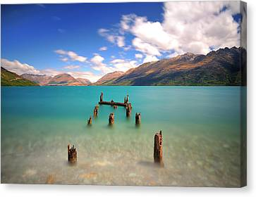 Broken Pier At Sea Canvas Print by Photography By Anthony Ko