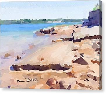 Broken Rock Walkway At Ten Pound Island Beach Canvas Print