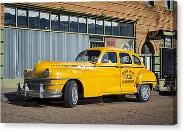 Broken Spoke Chrysler Taxi In Lowell Arizona Canvas Print by Mary Lee Dereske