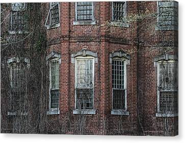 Canvas Print featuring the photograph Broken Windows On Abandoned Building by Kim Hojnacki