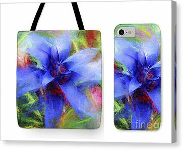 Bromeliad Lavender Blue Tote Phone Case Set Canvas Print by Mona Stut