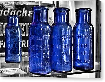 Glass Bottle Canvas Print - Bromo Seltzer Vintage Glass Bottles Collection - Backwards Z by Marianna Mills
