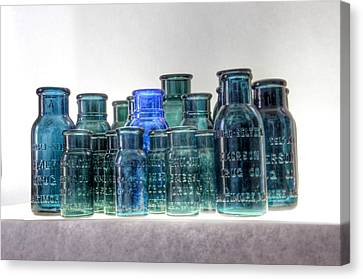 Glass Bottle Canvas Print - Bromo Seltzer Vintage Glass Bottles Collection - Rare Greens by Marianna Mills