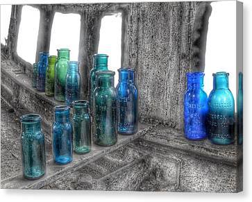 Bromo Seltzer Vintage Glass Bottles Canvas Print by Marianna Mills