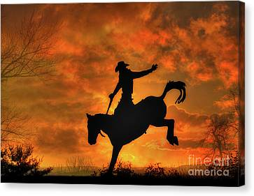 Bronco Riding Sunset Canvas Print