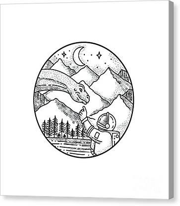 Brontosaurus Astronaut Mountain Circle Tattoo Canvas Print by Aloysius Patrimonio