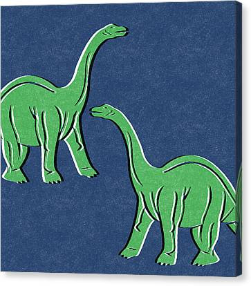 Kid Wall Art Canvas Print - Brontosaurus by Linda Woods