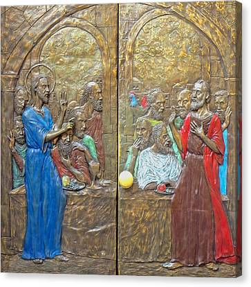 Last Supper Canvas Print - Bronze Door by Munir Alawi