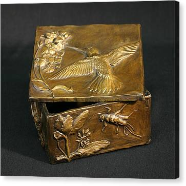 Canvas Print featuring the sculpture Bronze Hummingbird Box by Dawn Senior-Trask