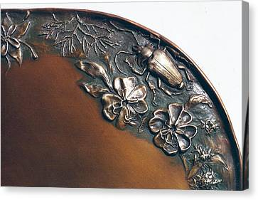 Bronze Tray Detail With Beetle Canvas Print by Dawn Senior-Trask