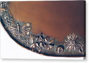 Bronze Tray Detail With Locust Canvas Print by Dawn Senior-Trask