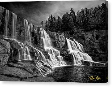 Canvas Print featuring the photograph Brooding Gooseberry Falls by Rikk Flohr