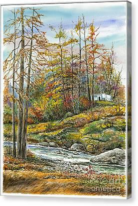 Brook In Autumn Canvas Print by Samuel Showman