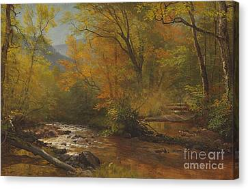 Brook In Woods Canvas Print by Albert Bierstadt