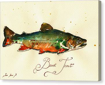 Brook Trout Art Canvas Print by Juan  Bosco
