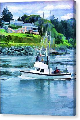 Brookings Boat Oil Painting Canvas Print by Wendy McKennon