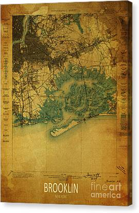 Brooklin 1898 - Historical Map Canvas Print by Pablo Franchi