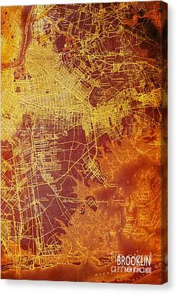 Brooklin New York Vintage Map Canvas Print