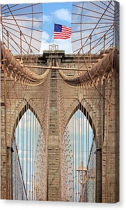 Canvas Print featuring the photograph Brooklyn Bridge 2  by Emmanuel Panagiotakis