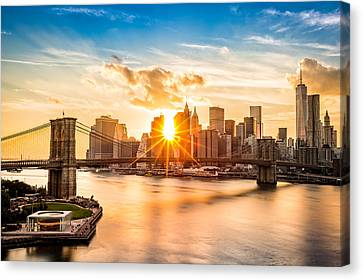 New York City Skyline Canvas Print - Brooklyn Bridge And The Lower Manhattan Skyline At Sunset by Mihai Andritoiu