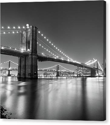 Night Canvas Print - Brooklyn Bridge At Night by Adam Garelick
