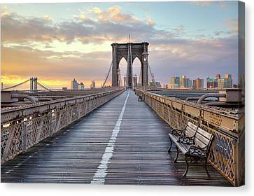 Architecture Canvas Print - Brooklyn Bridge At Sunrise by Anne Strickland Fine Art Photography