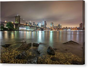 Canvas Print featuring the photograph Brooklyn Bridge At Sunrise  by Emmanuel Panagiotakis