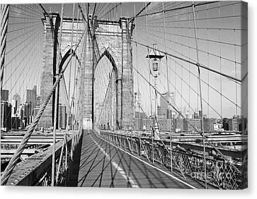 Brooklyn Bridge Deck Canvas Print by Andrew Kazmierski