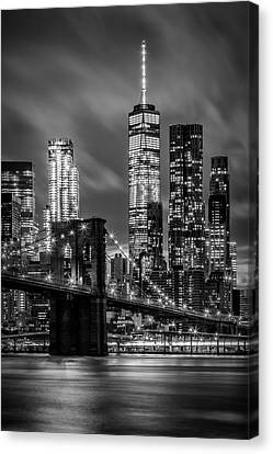 Brooklyn Bridge Evening Atmosphere In New York City - Monochrome Canvas Print