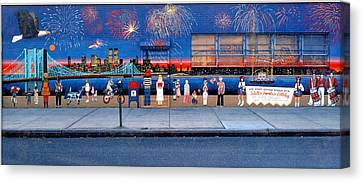 Brooklyn Bridge Fireworks Canvas Print by Bonnie Siracusa