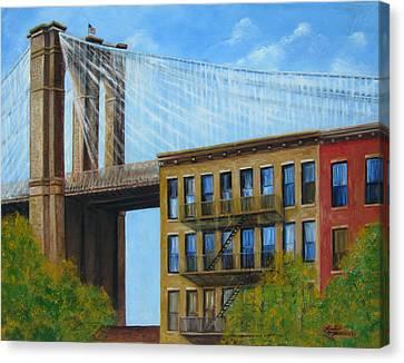 Brooklyn  Bridge Canvas Print by Leonardo Ruggieri