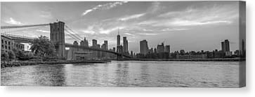 Brooklyn Bridge Monochrome Panoramic Canvas Print by Scott McGuire