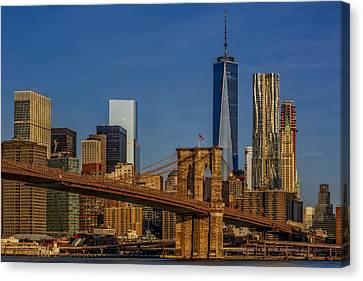 Brooklyn Bridge New York City Sunrise Canvas Print by Susan Candelario