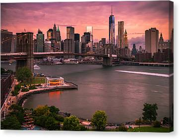 Brooklyn Bridge Over New York Skyline At Sunset Canvas Print