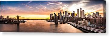 Canvas Print featuring the photograph Brooklyn Bridge Panorama by Mihai Andritoiu